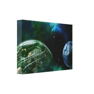 Os planetas no espaço imprimem canvas verdes e