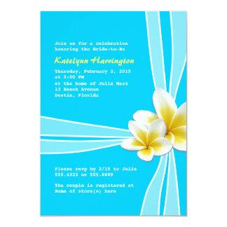 Os Plumerias tropicais no chá de panela do Aqua Convite 12.7 X 17.78cm