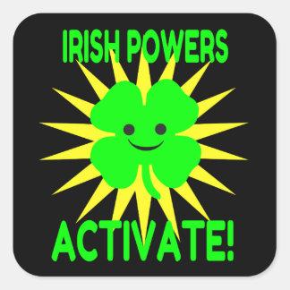 Os poderes irlandeses ativam adesivo quadrado