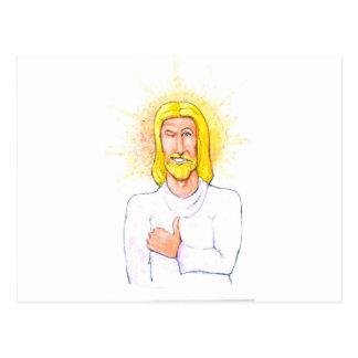 Os polegares levantam Jesus Cartão Postal