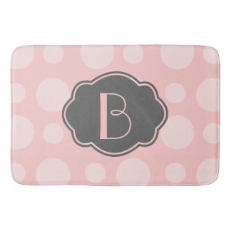 Os pontos na moda, rosa & cinzas, adicionam sua tapete de banheiro