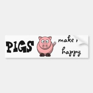 Os porcos fazem-me feliz adesivo para carro