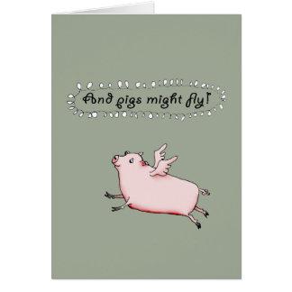Os porcos puderam voar, porco cor-de-rosa com cartão comemorativo