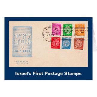 Os primeiros selos postais de Israel Cartão Comemorativo