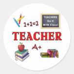 Os professores fazem-no com classe adesivos em formato redondos