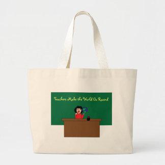 Os professores fazem o mundo ir em volta do saco bolsas para compras