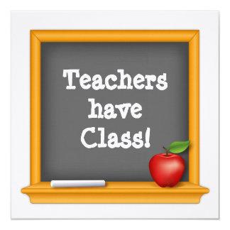 Os professores têm a classe! convite quadrado 13.35 x 13.35cm