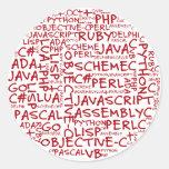 Os programadores têm habilidades de programação mú adesivo em formato redondo