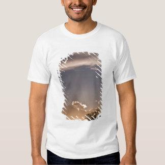 Os raios crepusculares irradiam através do céu em tshirts
