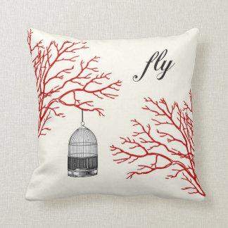 """Os ramos vermelhos do Birdcage do vintage """"voam"""" o Almofada"""