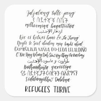 Os refugiados prosperam etiqueta