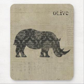Os rinocerontes mostram em silhueta Mousepad perso