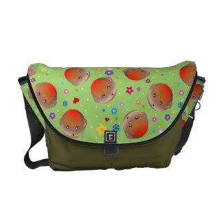 Os robins bonitos e as flores projetam - o saco ve bolsas mensageiro