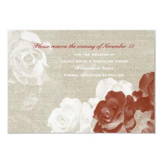 Os rosas brancos vermelhos de linho do fantasma convite 8.89 x 12.7cm
