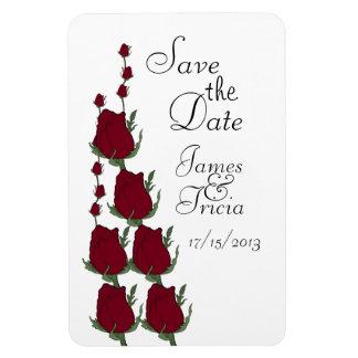 Os Rosebuds vermelhos salvar os ímãs do casamento  Foto Com Ímã Retangular