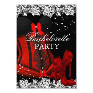 Os saltos & a festa de solteira vermelhos do convite 12.7 x 17.78cm