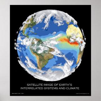 Os sistemas e o clima da terra satélite da imagem pôsteres
