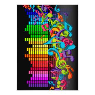 os sons coloridos do equalizador das notas da convite
