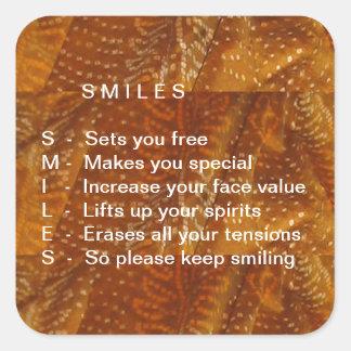 Os sorrisos são contagiosos adesivo quadrado