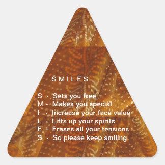 Os sorrisos são contagiosos adesivo triangular
