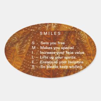 Os sorrisos são contagiosos adesivos em formato ovais