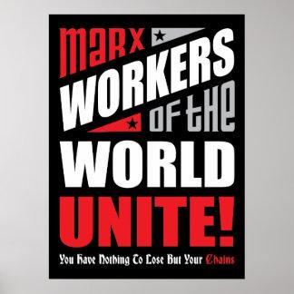 Os trabalhadores de Karl Marx do mundo unem Pôster