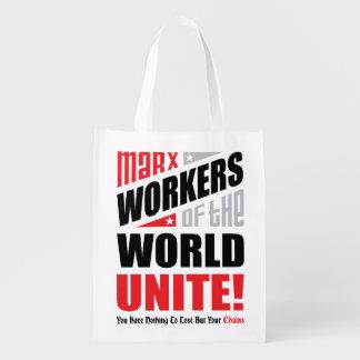 Os trabalhadores de Karl Marx do mundo unem-se Sacolas Reusáveis