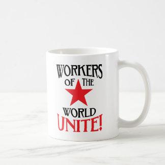 Os trabalhadores do mundo unem-se! Slogan marxista Caneca De Café