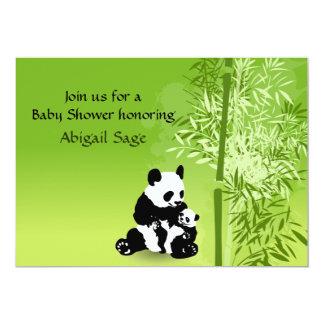 Os ursos de panda e o chá de fraldas neutro de convite 12.7 x 17.78cm