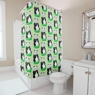 Os ursos de panda modelam claro - cortina de chá cortina para box