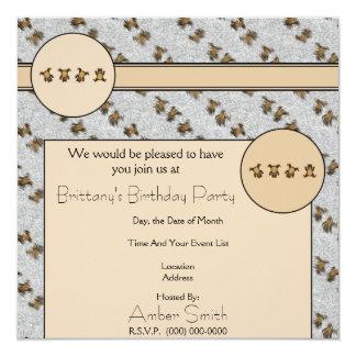 Os ursos do Cartwheel mancharam o convite da pele Convite Quadrado 13.35 X 13.35cm