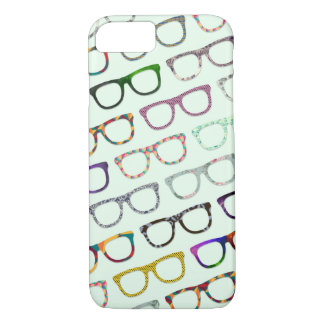 Os vidros retros do hipster do geek modelam o caso capa iPhone 7