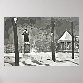 Oslo no poster preto e branco da fotografia da