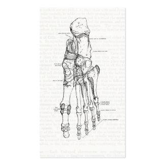Ossos da arte da anatomia do vintage do pé cartão de visita