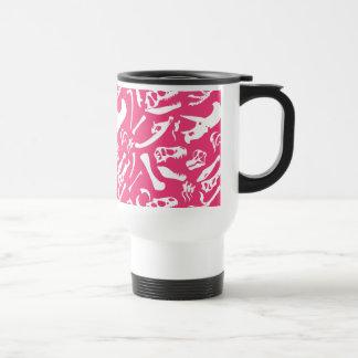 Ossos de dinossauro (rosa) caneca térmica