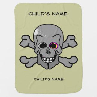 Ossos eyed rosa do crânio e da cruz cobertores para bebe