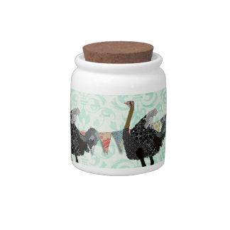 Ostrich Damask Cookie Jar Candy Dish