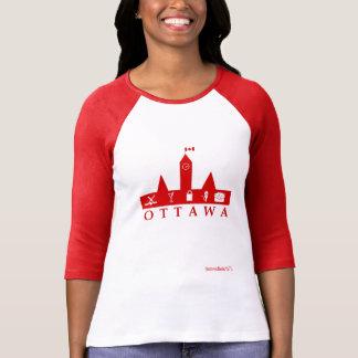 Ottawa camisa vermelha e do branco 3/4 da luva