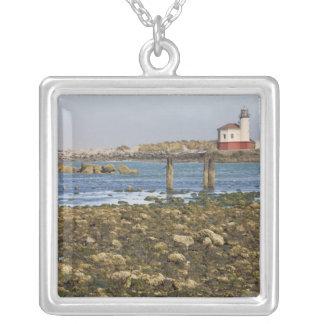 OU, costa de Oregon, Bandon, rio de Coquille Colar Com Pendente Quadrado
