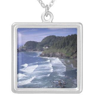 OU, costa de Oregon, farol principal de Heceta, Colar Com Pendente Quadrado