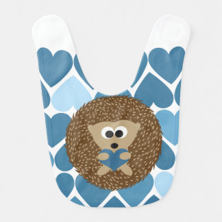 Ouriço e corações azuis babador de bebe