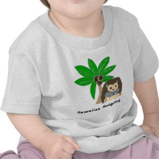Ouriço e palmeira havaianos camisetas