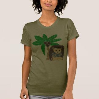 Ouriço e palmeira havaianos t-shirt