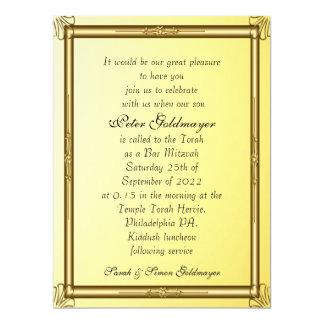 Ouro 2 do convite de Mitzvah do bar