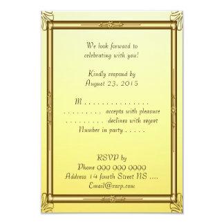Ouro 2 do convite de Mitzvah do bar de RSVP