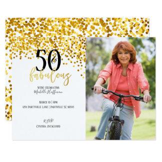 Ouro 50 & 50th convites de festas de aniversários