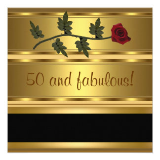 Ouro 50 e festa de aniversário fabulosa convite personalizado