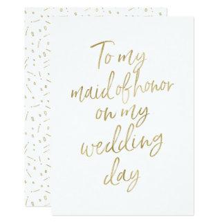 """Ouro """"a minha madrinha de casamento em meu dia do convite 12.7 x 17.78cm"""