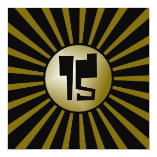 Ouro adolescente dos meninos e cartão preto da convite quadrado 13.35 x 13.35cm