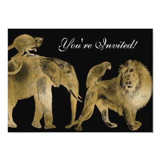 Ouro africano do leão do safari do casamento do convite 12.7 x 17.78cm
